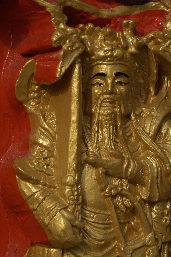 temple furnace painted sculpture