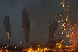 wang boat burning in donggang