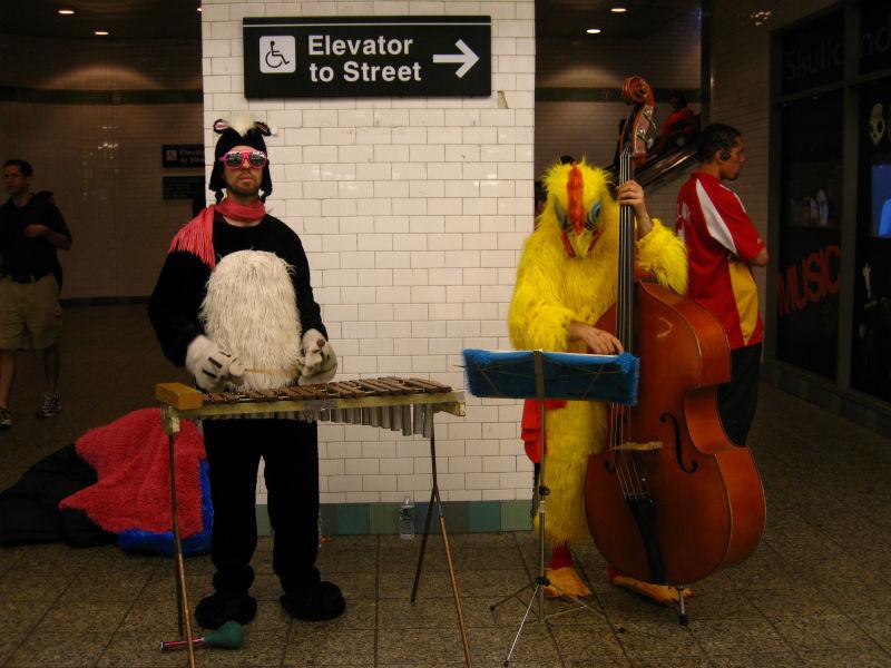 subway costumed musicians