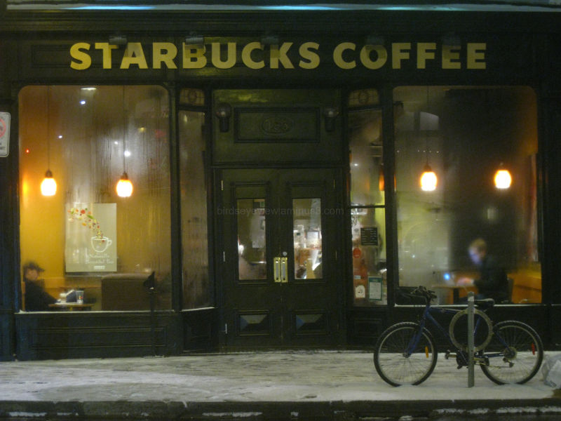 starbucks at night