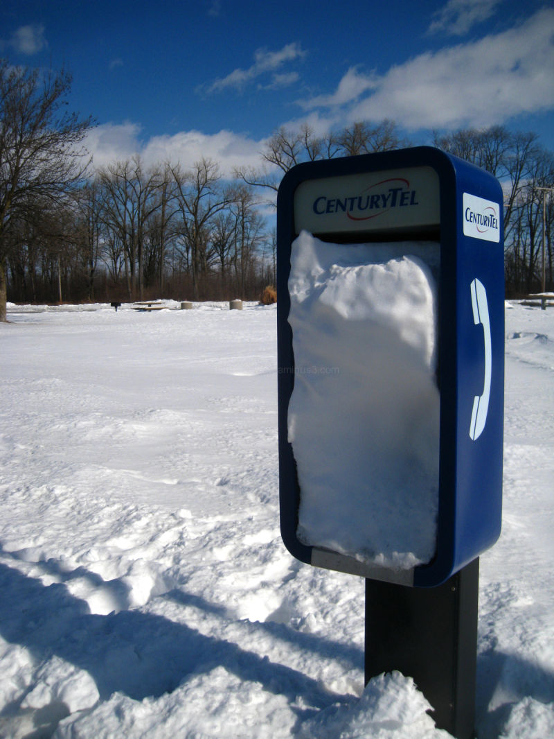 snowy phone booth