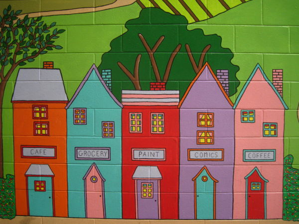 mural of houses