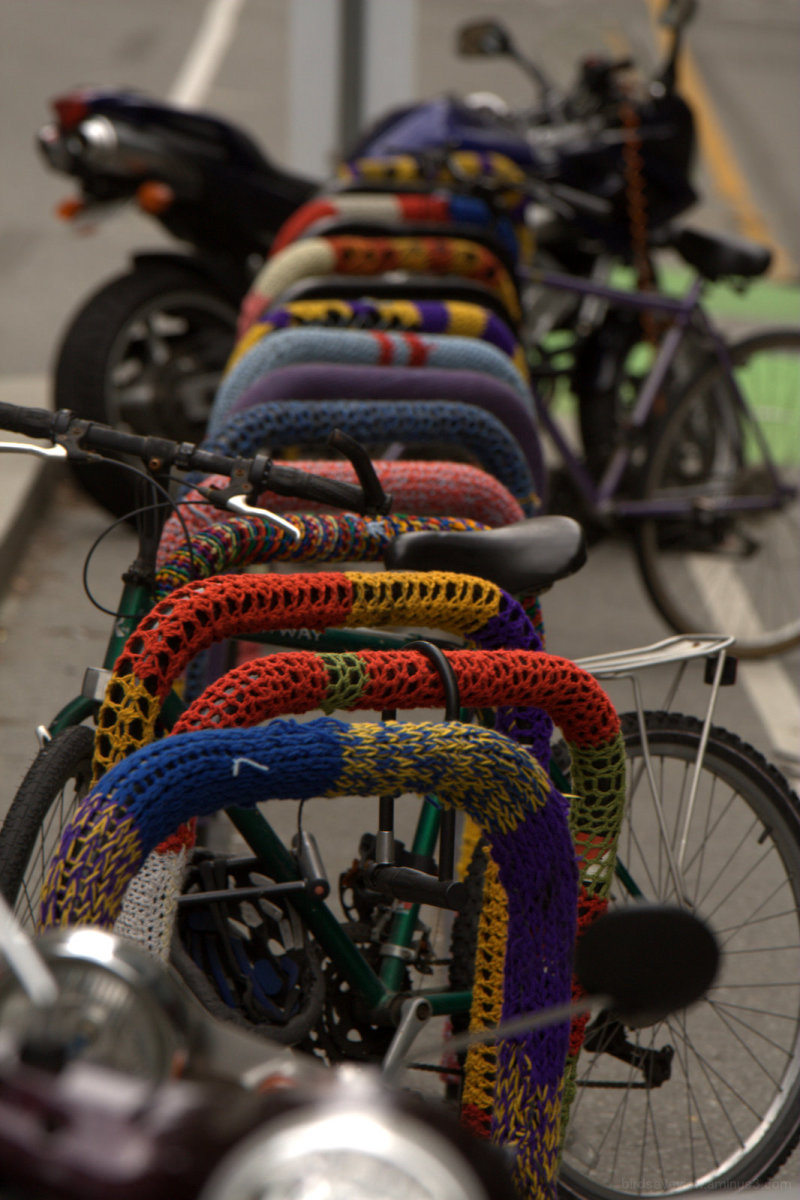 yarn-bombing in downtown vancouver