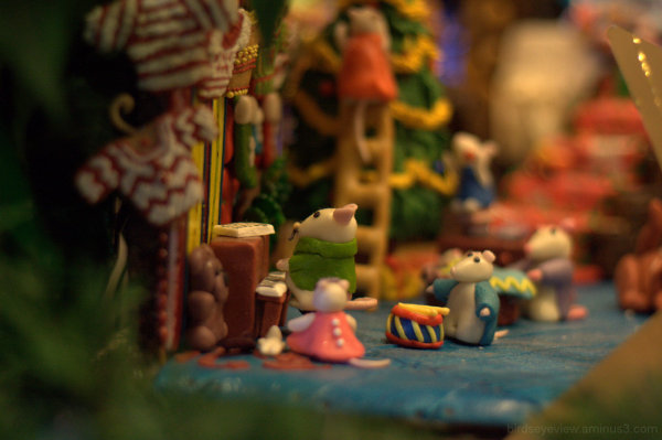 family of gingerbread house mice