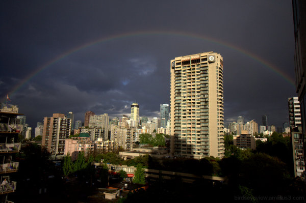 rainbow over downtown
