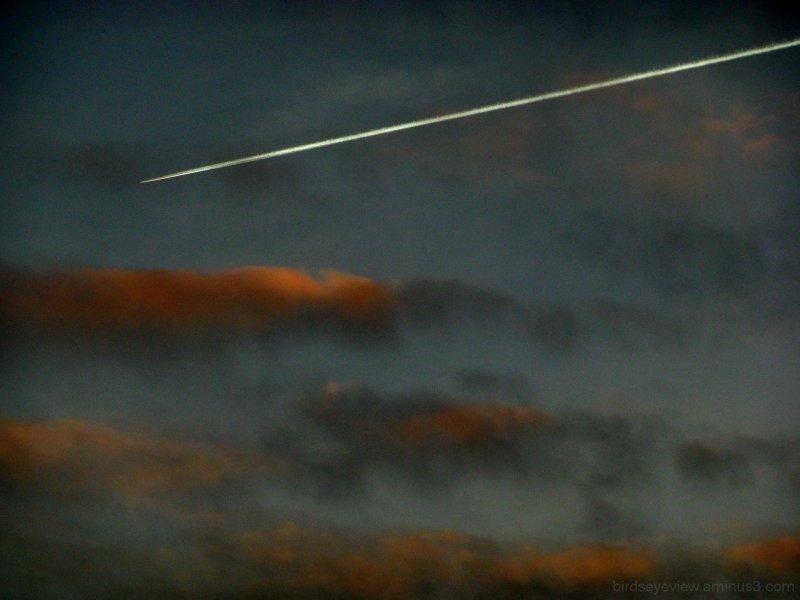 sunset and jet stream