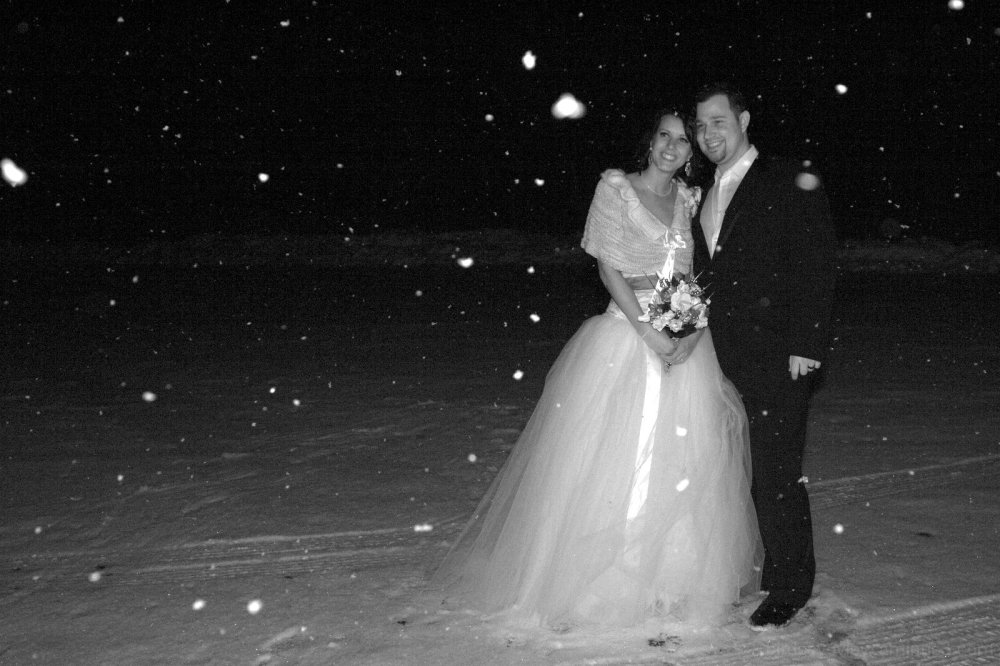 snow on wedding night