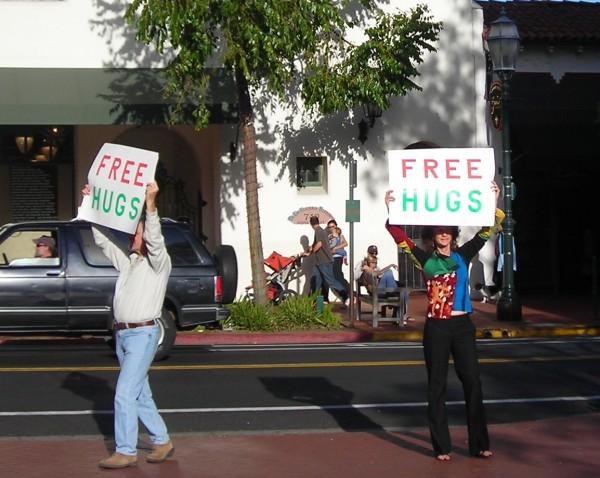 Free hugs on Sate Street