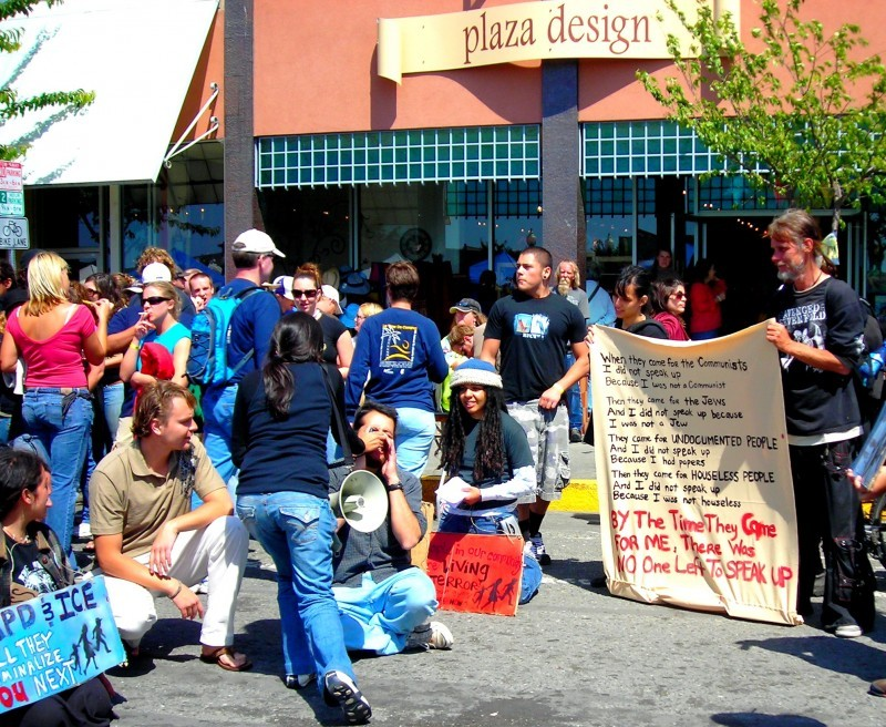 Activist use street theatre to make a point
