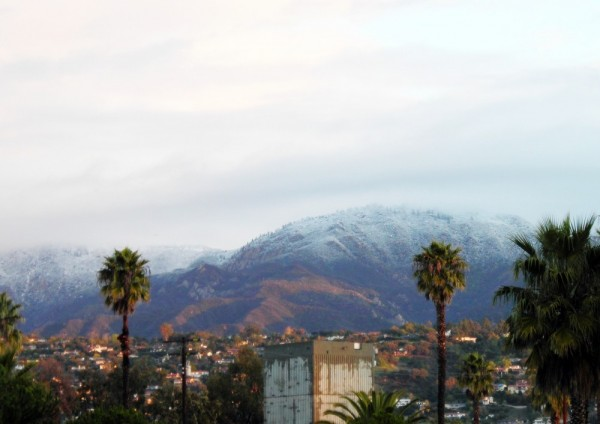 Snow in Mountains above Santa Barbara