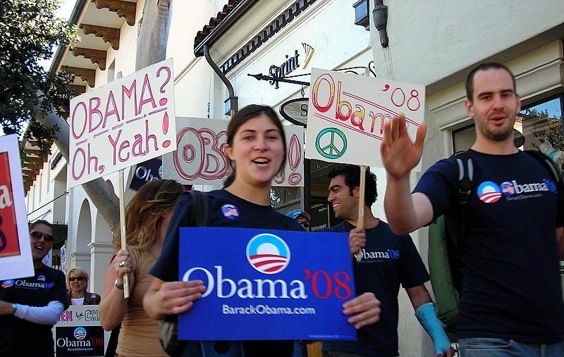 Obama Supporters in Santa Barbara