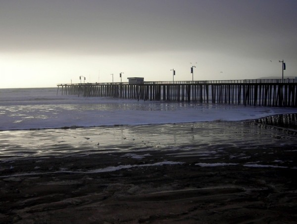 Pier During High Surf
