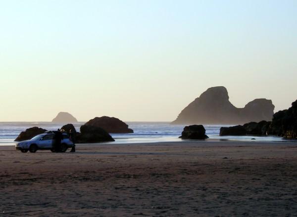 Subaru at sunset on Moonstone Beach