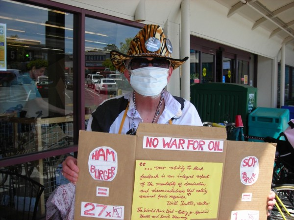Raging Granny protests against meat and war