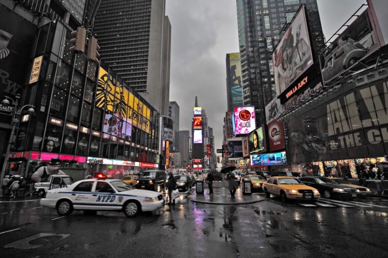 NYC under rain