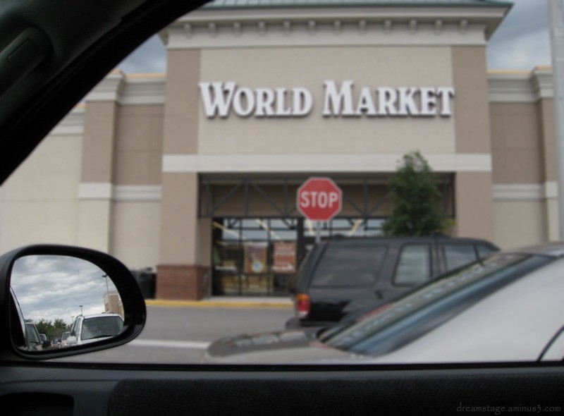 world market through the truck window