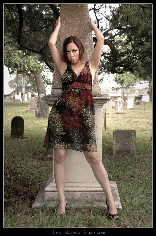 Tiffany in the cemetery