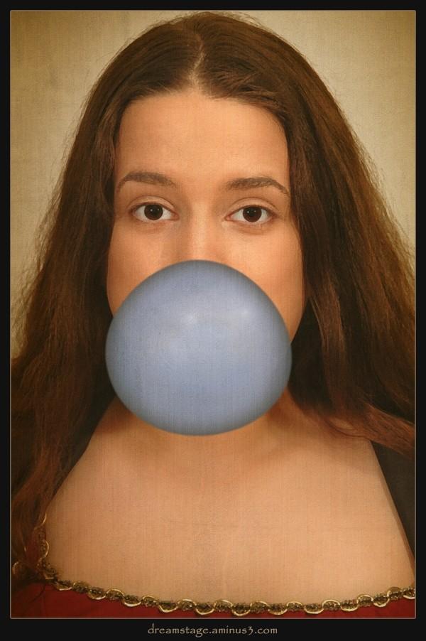 Mona Lisa Blowing a Bubble