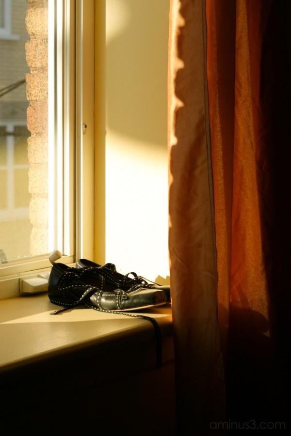 shoes on a windowsill