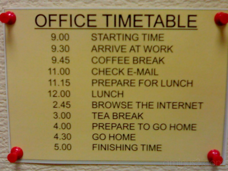 Office Timetable - Miscellaneous Photos - WiME