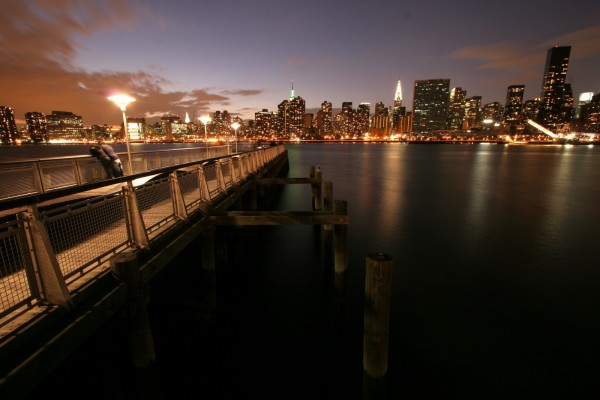 The Manhattan skyline by night, viewed from Queens