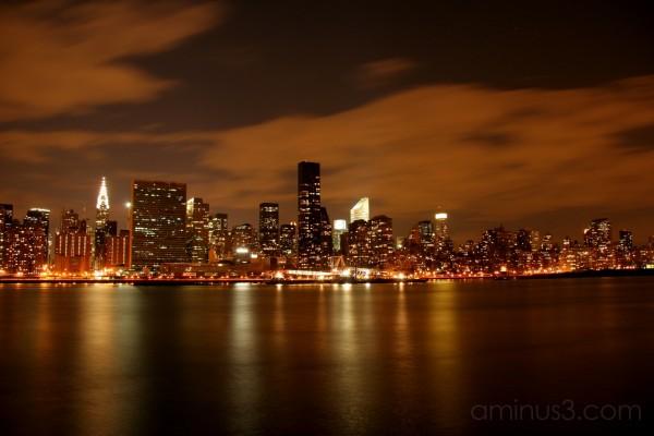 illuminated skyline on Manhattan