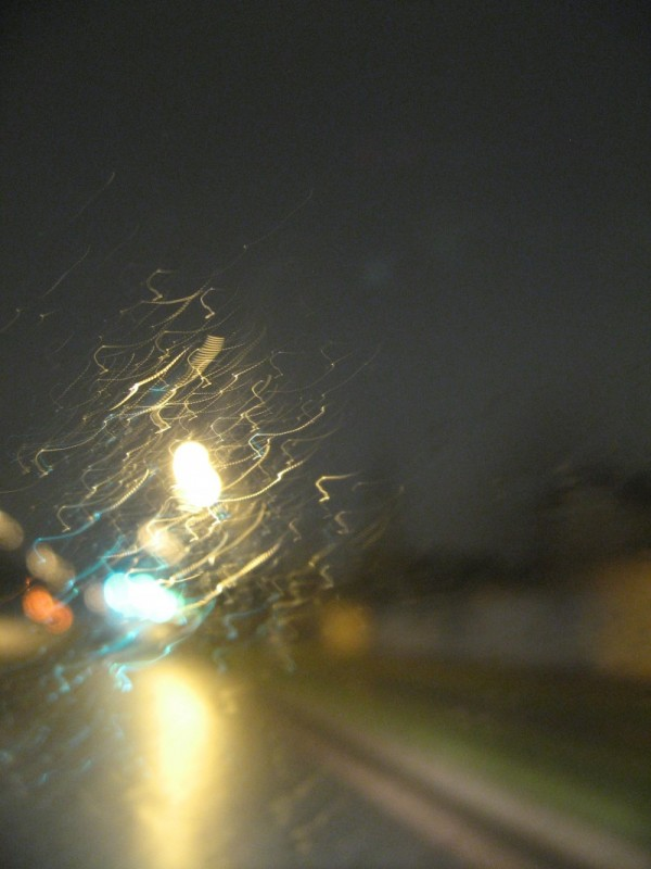 a drive in the rain