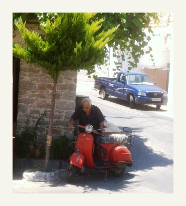 easy rider in Tilos parks the wild beast!