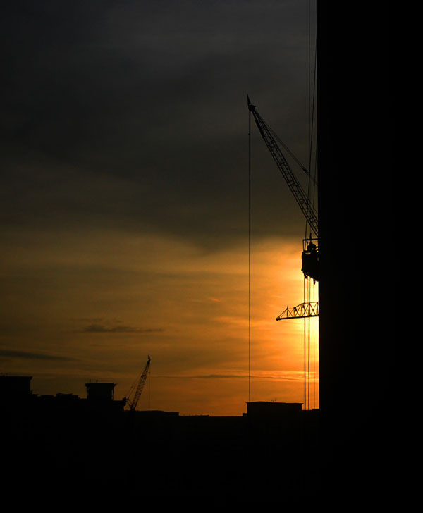Sunrise over Compassvale Construction Site