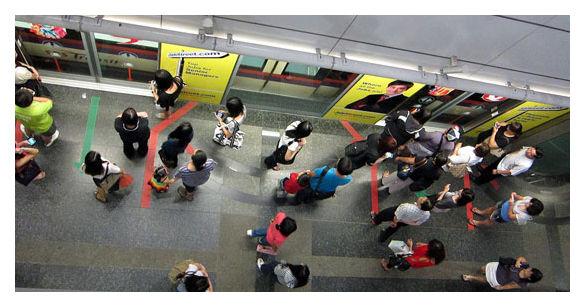 Queuing for train, Singapore