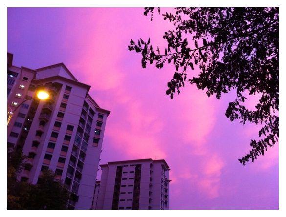 Pink sky in Sengkang town, Singapore