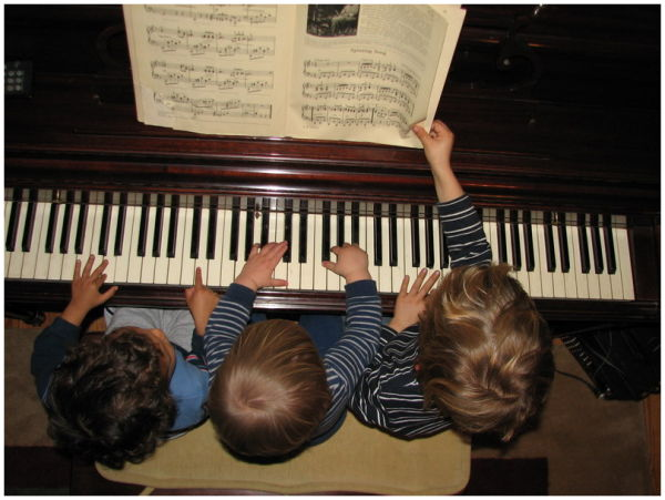 My kids on the piano