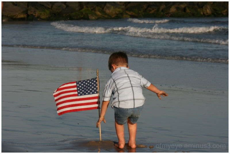 flag beach kids water america independance