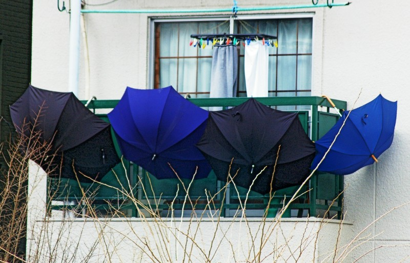 umbrellas drying on a veranda in Tokyo