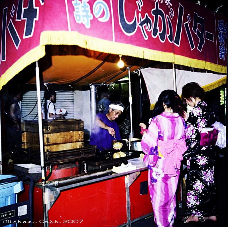 Baked potato vendor at Japanese festival in Gunma