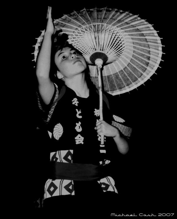 Girl dancing in Japanese festival