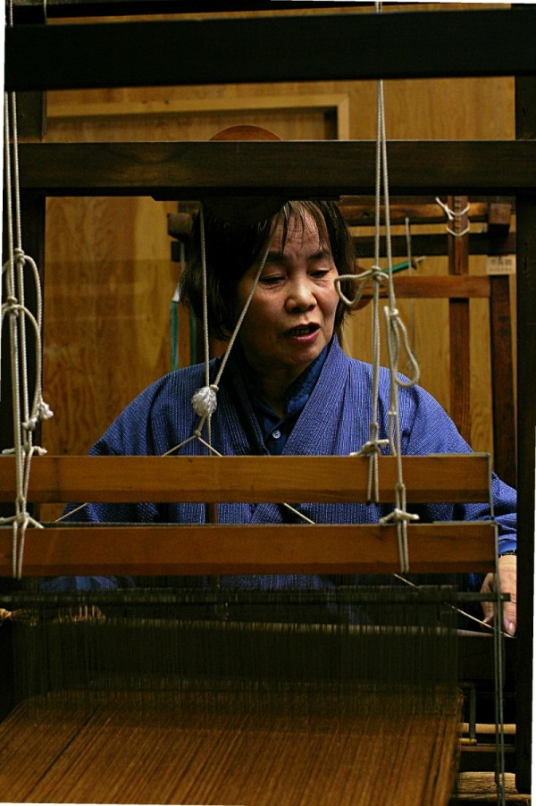 Antique loom demonstration in Japan