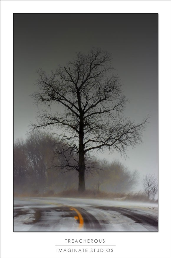 A black iced road in Michigan