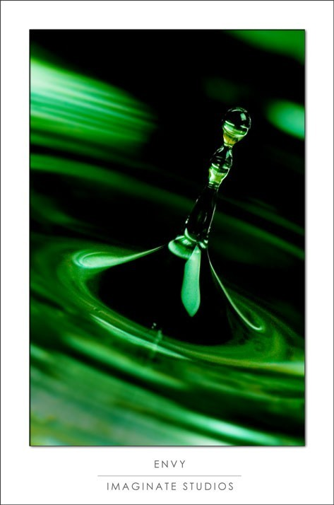 A water drop with green gels