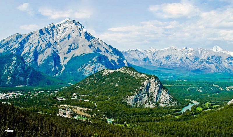 View of Banff, Cascade and Tunnel Mountains