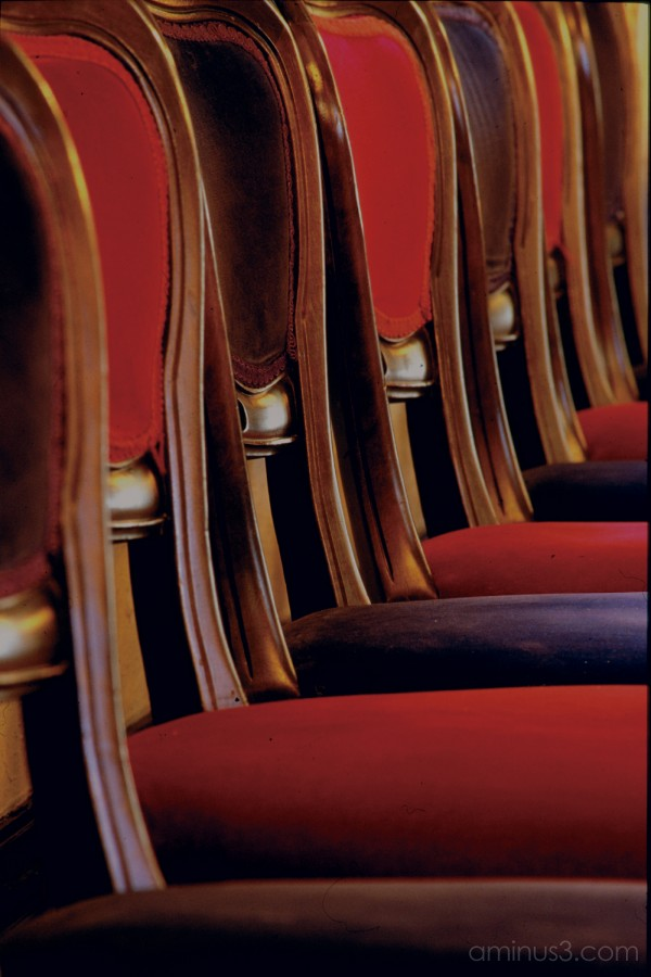 Chairs antique red blue velvet