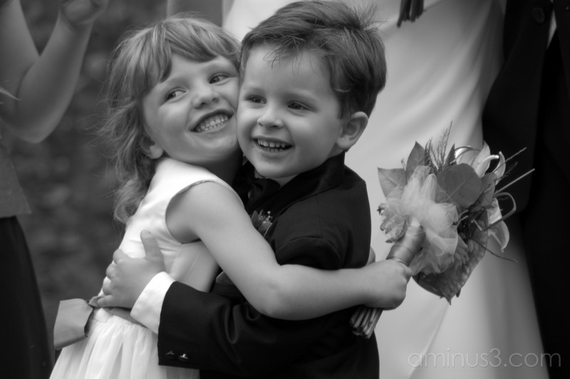 wedding happy kids formal b&w