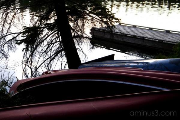 canoes water lake dock