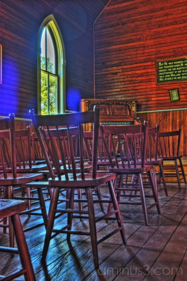 HDR, Austin Manitoba, Church, Interior, Chairs,