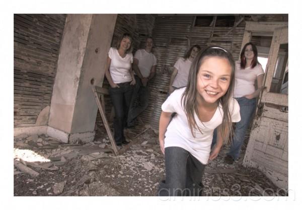 family, abandoned house