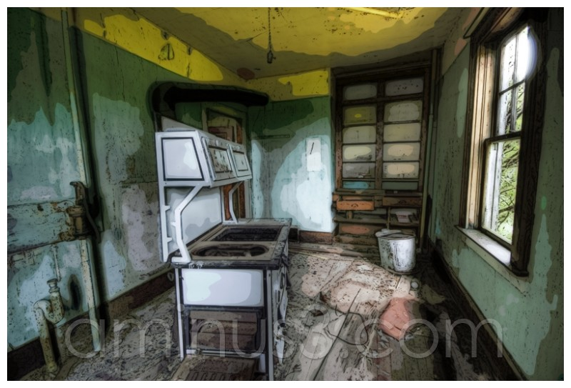 HDR+, Abandoned, Saskatchewan, Kitchen