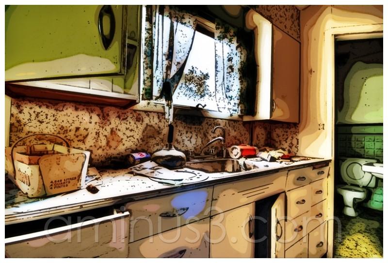 HDR+, Abandoned, Saskatchewan, Kitchen