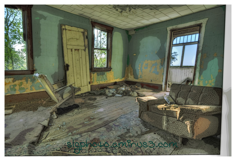 HDR abandoned living room Saskatchewan