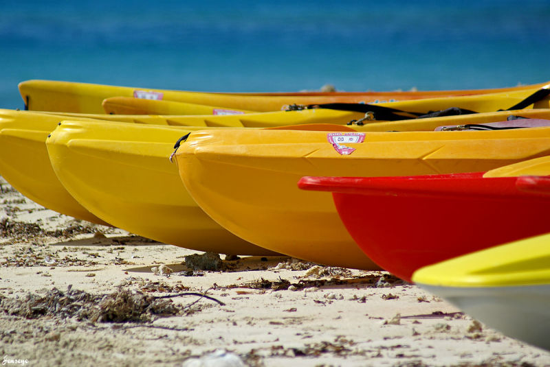 Colorful Kayaks Ocean Puerto Rico