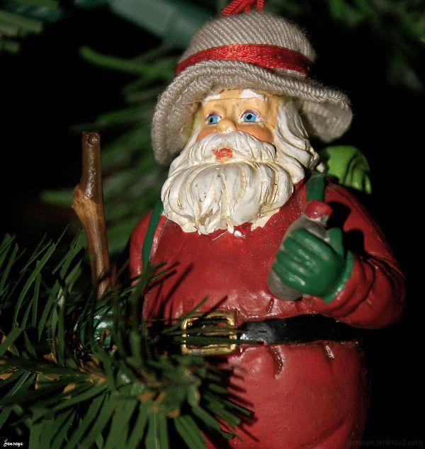 Camping Santa Christmas Ornament